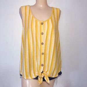 W5 ANTHRO YELLOW AND WHITE STRIPED TANK TOP